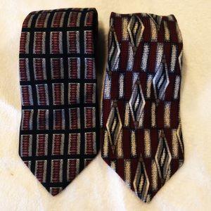 Vintage Roundtree & Yorke 100% Silk Tie Pair  A12